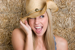 Glückliches Cowgirl Stockbilder