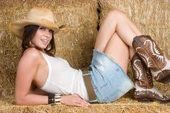 Glückliches Cowgirl Stockfotos
