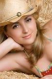 Glückliches Cowgirl-Lächeln stockfoto
