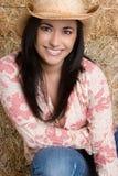 Glückliches Cowgirl-Lächeln stockbild