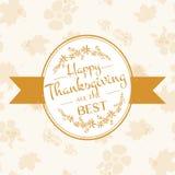 Glückliches Danksagungs-Tagesfirmenzeichen, -ausweis und -ikone Stockfoto