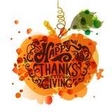 Glückliches Danksagungs-Tagesfirmenzeichen, -ausweis und -ikone Stockfotografie