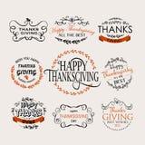 Glückliches Danksagungs-Tagesfirmenzeichen, Ausweis und Ikonensatz Lizenzfreies Stockfoto