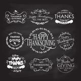 Glückliches Danksagungs-Tagesfirmenzeichen, Ausweis und Ikonensatz Stockbild