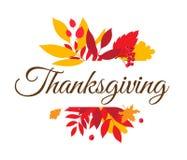 Glückliches Danksagungs-Tagestypographie-Beschriftungsplakat Herbstfall lässt Beeren lizenzfreie abbildung