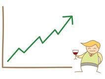 Glückliches Diagramm des Geschäftsmannes oben Lizenzfreie Stockfotos