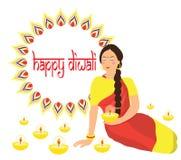 Glückliches Diwali Hindisches Festival Inder Deepavali von Lichtern Frau, die eine Kerze in ihren Händen hält Flache Designvektor stock abbildung