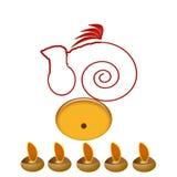Glückliches diwali mit ganeshji Gebeten lizenzfreie abbildung