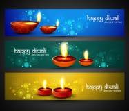 Glückliches diwali religiöse stilvolle bunte drei gesetzte Titel Stockfotos