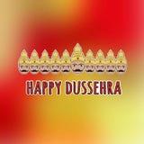 Glückliches Dussehra Karte mit Ravana mit zehn Köpfen Lizenzfreies Stockbild