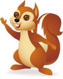Glückliches Eichhörnchen mit Handdem wellenartig bewegen Stockbild