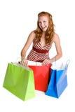Glückliches Einkaufen-Beutel-Mädchen lizenzfreie stockfotos