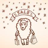 Glückliches Einkaufenmädchen auf weißem Hintergrund Frohe Weihnacht-Karte Lustige Schafe Stockfoto