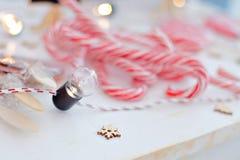 Glückliches Einkaufenmädchen auf weißem Hintergrund Kinder verkaufen Bonbons des neuen Jahres Glatte Karamellstöcke eco Bonbons Lizenzfreies Stockbild