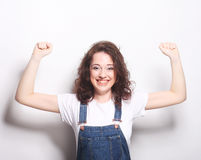 glückliches ekstatisches Feiern der Frau seiend ein Sieger Stockbilder