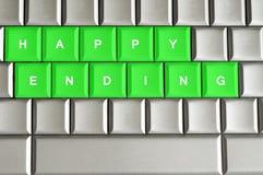 Glückliches Ende buchstabiert auf einer metallischen Tastatur lizenzfreie abbildung
