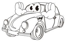 Glückliches Färbungsauto mit den Händen stock abbildung