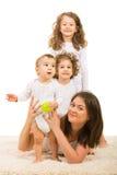 Glückliches Familienhaus Stockfotos