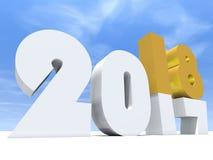 glückliches Feiertagssymbol der weißen Zusammenfassung des gelbes Gold 2018 vektor abbildung
