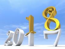 glückliches Feiertagssymbol der weißen Zusammenfassung des gelbes Gold 2018 stock abbildung