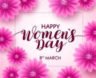 Glückliches Frauen ` s Tagesvektor-Hintergrunddesign mit am 8. März Text Stockfotografie