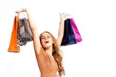 Glückliches Fraueneinkaufen lizenzfreies stockfoto