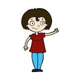 glückliches Frauenzeigen der komischen Karikatur Lizenzfreies Stockfoto