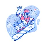 Glückliches Freistil-Snowboarder-Mann-Springen vektor abbildung