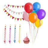 Glückliches Geburtstagsfeierzubehör Auch im corel abgehobenen Betrag Stockfotos