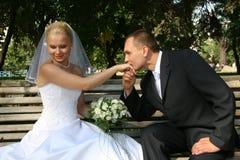 Glückliches geheiratet lizenzfreie stockbilder