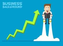 Glückliches Geschäftsmann- oder Managerfliegen auf jetpacks zu seinem Ziel Stockfotografie