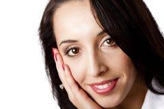 Glückliches Gesicht einer schönen Geschäftsfrau Stockbilder