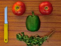 Glückliches Gesicht gebildet vom gesunden Gemüse lizenzfreie stockfotos