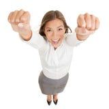 Glückliches glückliches Sie Frauenzujubeln lizenzfreie stockfotos