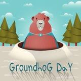 Glückliches Groundhog Day mit einem lustigen groundhog Charakter in einem Regenmantel mit einer Brosche Auch im corel abgehobenen lizenzfreie abbildung