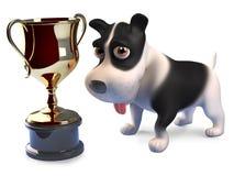 Glückliches Hündchen hat den Goldcup-Trophäenpreis, 3d gewonnen zu übertragen stock abbildung