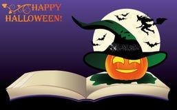 Glückliches Halloween Altes Buch und Mond der Hexe Stockfotos
