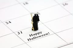 Glückliches Halloween auf einem Kalendertag Stockfotografie