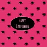 Glückliches Halloween auf einem rosa Hintergrund mit Spinnen lizenzfreie abbildung