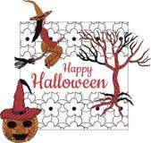 Glückliches Halloween! Fahne In der Mitte ist die Aufschrift vektor abbildung