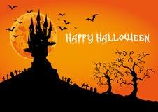 Glückliches Halloween, frequentiertes Schloss bei Sonnenuntergang, Illustration Lizenzfreies Stockfoto