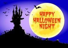 Glückliches Halloween, frequentiertes Schloss nachts Vollmond, Illustration Stockfoto