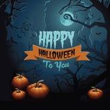 Glückliches Halloween-Gruß-Kartendesign Stockbild