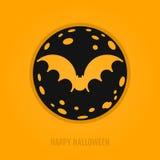 Glückliches Halloween-Konzept mit Schläger und Mond Stockbild