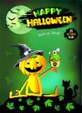 Glückliches Halloween, lustiger Kürbis in einem Hut mit Kuchen stock abbildung