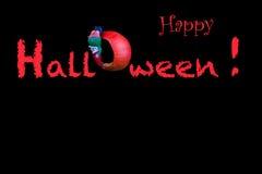 Glückliches Halloween mit Buchstaben in Form eines Kürbises Stockbild