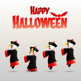 Glückliches Halloween mit chinesischem Zombie Stockfotografie