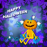 Glückliches Halloween mit einem Kürbismädchen in den Blättern auf einem blauen Hintergrund stock abbildung