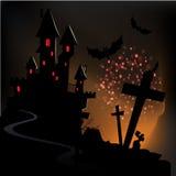 Glückliches Halloween mit Grußkarte Stockbilder