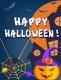 Glückliches Halloween mit Kürbis Stockfoto